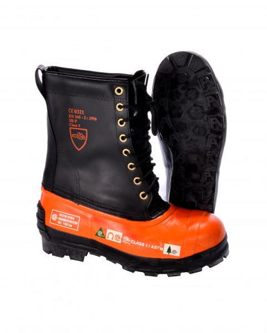 Pair of boots with black uppers, orange foot, and black grip tread sole.