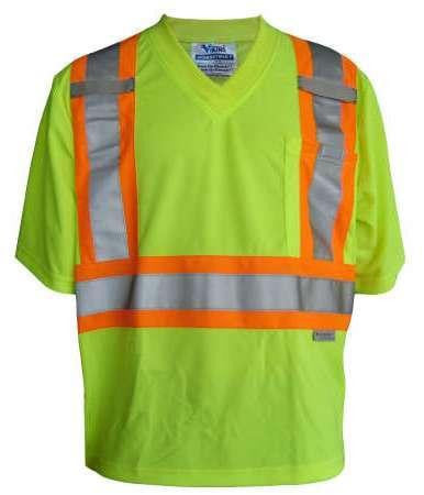 Green Viking Saftey T-shirt with high-vis strapping around chest and over shoulders