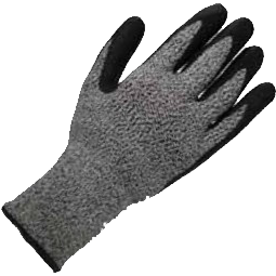 Grey cut-resistant glove, with coated palm