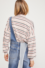 Load image into Gallery viewer, Free People Steph Striped Mock Neck Balloon Sleeve Top
