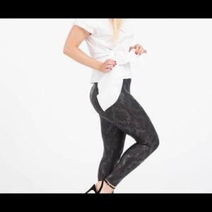 SPANX Faux Leather Brocade Leggings