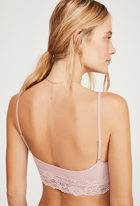 Free People STEVIE LACE TRIM BRALETTE / PINK