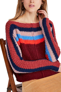Free People RAINBOW STRIPED KNIT SWEATER
