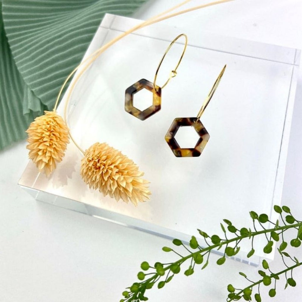 24k Gold-Plated Cut-out Tortoiseshell Hex Hoops