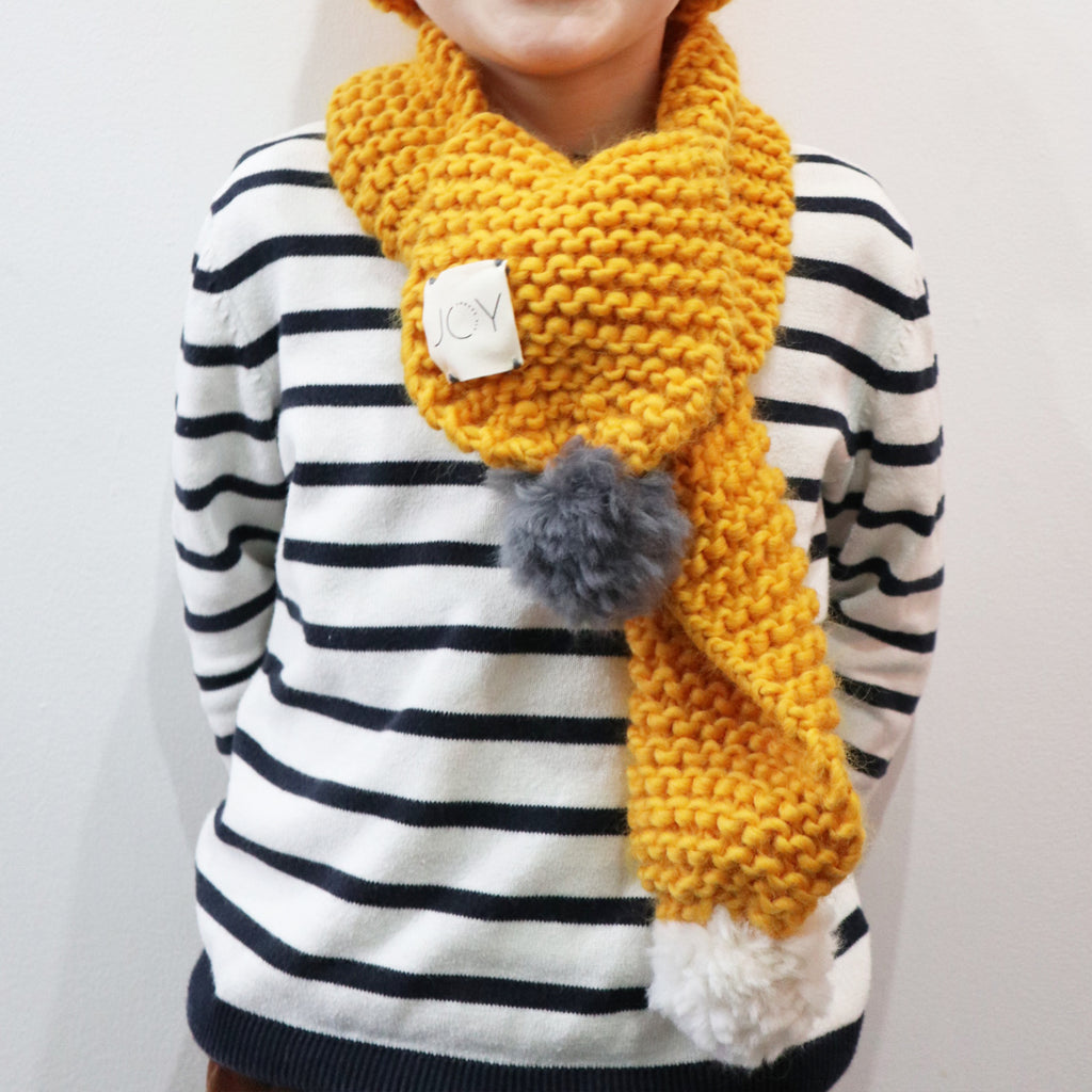 Hand Knitted Mini Scarf with Pom Poms