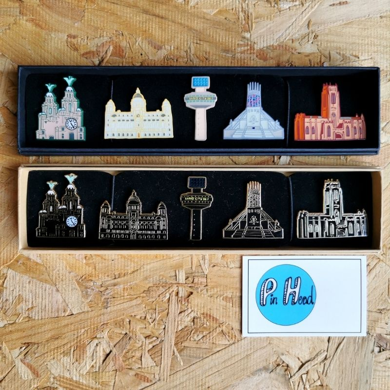 Liverpool Skyline Pins (5 pin set)