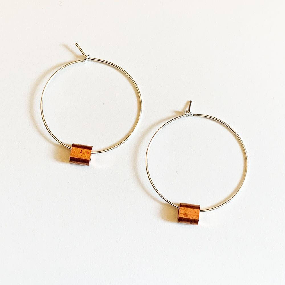 Sterling Silver & Copper Earrings (hoops)