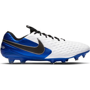 Nike Tiempo Legend 8 Elite FG Firm-Ground Soccer Cleat White/Black Hyper Royal Metallic Silver