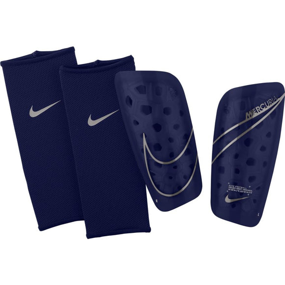 Nike Mercurial Lite Soccer Shinguards with Sleeves Navy Blue