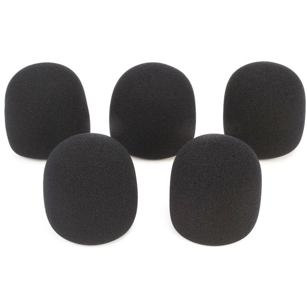 On-Stage ASWS58B5 Foam Windscreen (Black) (5-Pack)