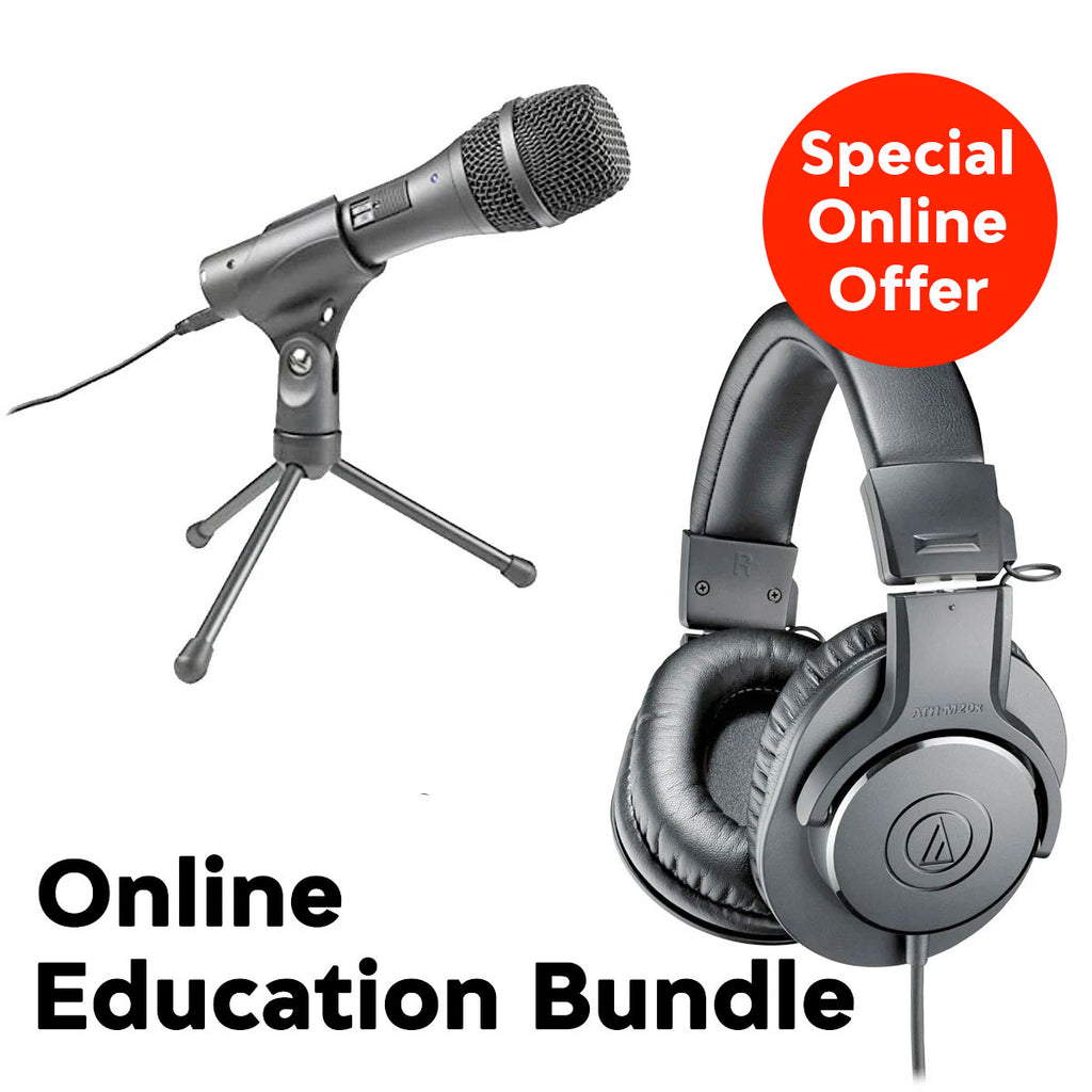 Audio-Technica Education Bundle (w/ AT2005USB USB/XLR Microphone, ATH-M20x Headphones, Tripod Mic Desk Stand (ONLINE ONLY SPECIAL OFFER)