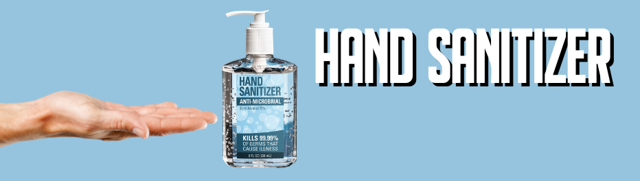 Blue Picture with hand and hand sanitizer bottle
