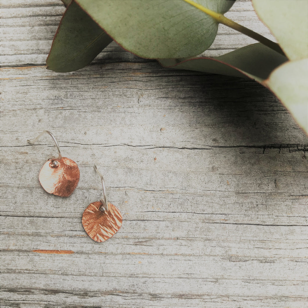 Tiny Copper leaves - handforged earrings made in Melbourne