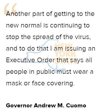 Effective April 17th:  All People in New York are Required to Wear Masks or Face Coverings