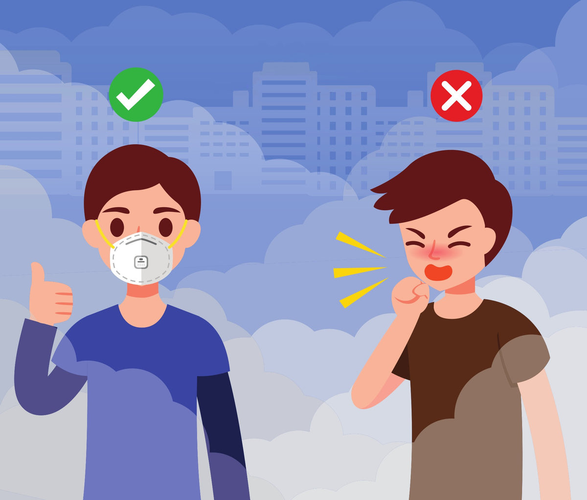 thumbsup mask - correct. coughing in hand - incorrect.