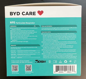 N95 Particulate Repirator, Foldable- by BYD Care - 20 masks per box