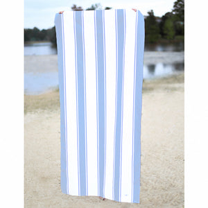 St. Augustine Beach Towel- White/ Lt. Blue