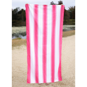 St. Augustine Beach Towel- Pink/White
