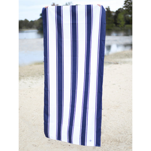 St. Augustine Beach Towel- Navy/White