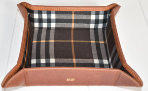Leather Tray With Snaps- Tan