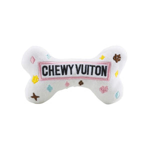 "Large White ""Chewy Vuitton"" Dog Toy"