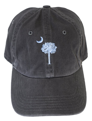 SC Palm Tree Embroidered Hat- Charcoal & Light Blue
