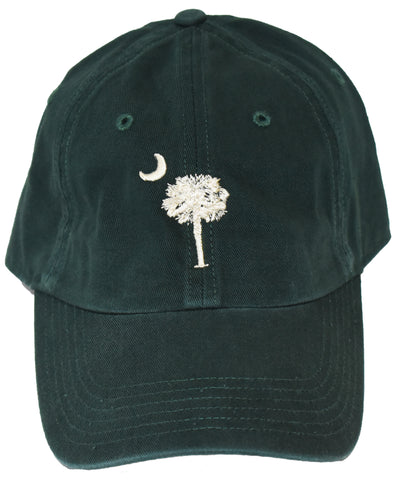 SC Palm Tree Embroidered Hat- Dark Green & Stone