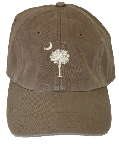 SC Palm Tree Embroidered Hat- Driftwood/Stone