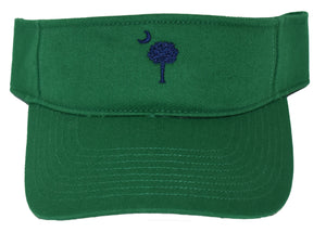 SC Palm Tree Embroidered Visor- Green/Navy