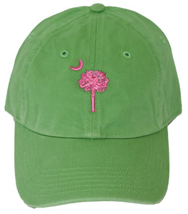 SC Palm Tree Embroidered Hat- Lime Green & Pink