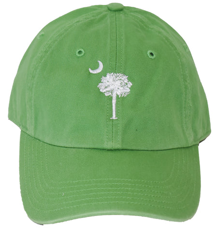 SC Palm Tree Embroidered Hat- Green/White