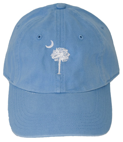 SC Palm Tree Embroidered Hat- Lt. Blue/White