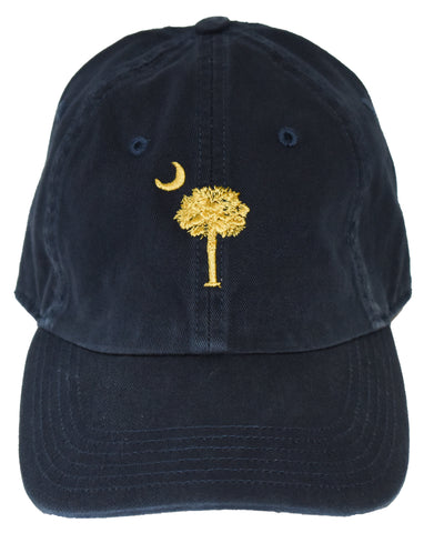 SC Palm Tree Embroidered Hat- Navy/Gold