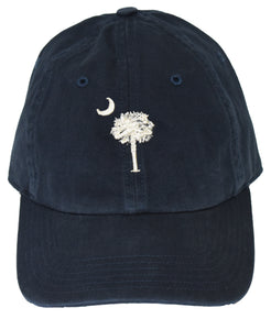 SC Palm Tree Embroidered Hat- Navy/Stone