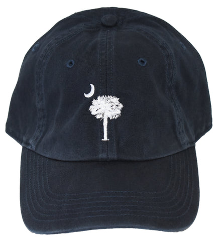 SC Palm Tree Embroidered Hat- Navy & White