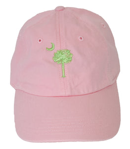 SC Palm Tree Embroidered Hat- Pink/Green