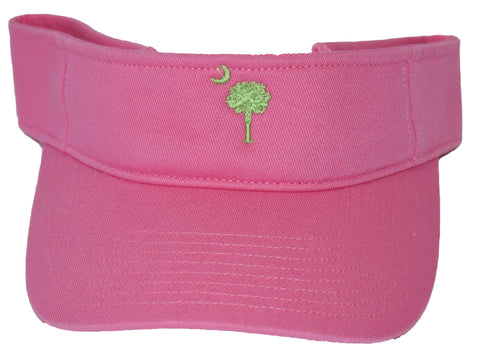 SC Palm Tree Embroidered Visor- Pink & Lime Green