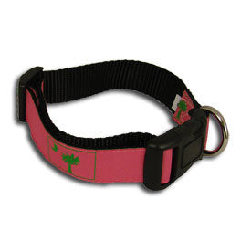 SC Palm Tree and Crescent Moon Dog Collar- Pink