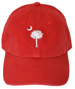 SC Palm Tree Embroidered Hat- Red & White