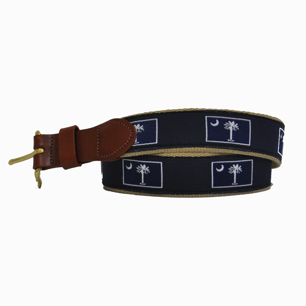 South Carolina Leather Tab Belt-Navy