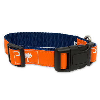 SC Palm Tree and Crescent Moon Dog Collar- Orange