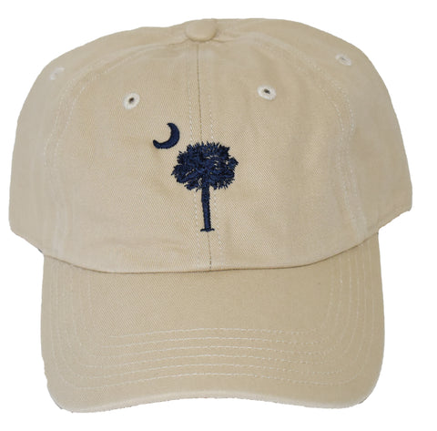 SC Palm Tree Embroidered Hat- Stone/Navy