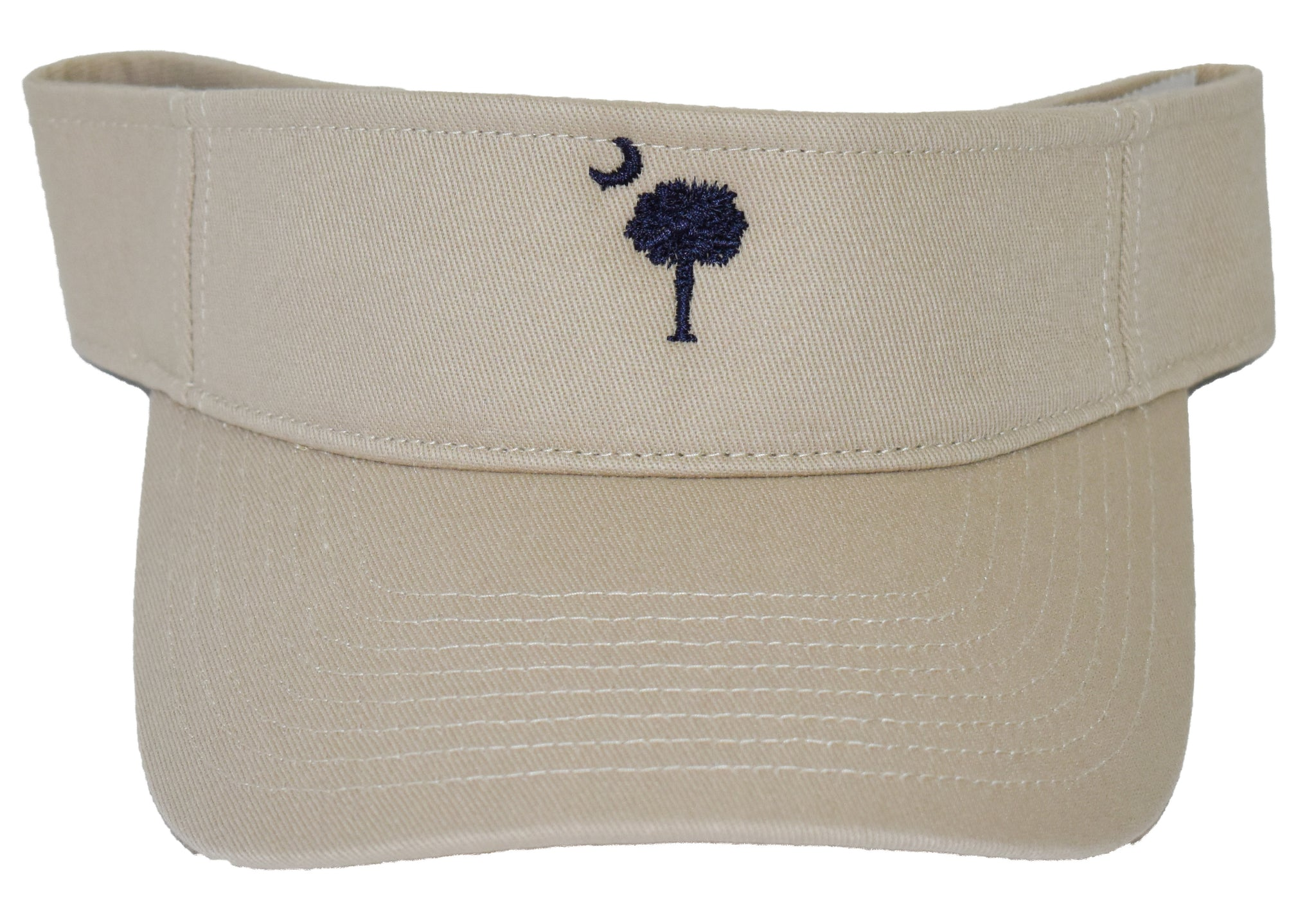 SC Palm Tree Embroidered Visor- Stone & Navy