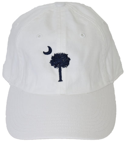 SC Palm Tree Embroidered Hat- White & Navy