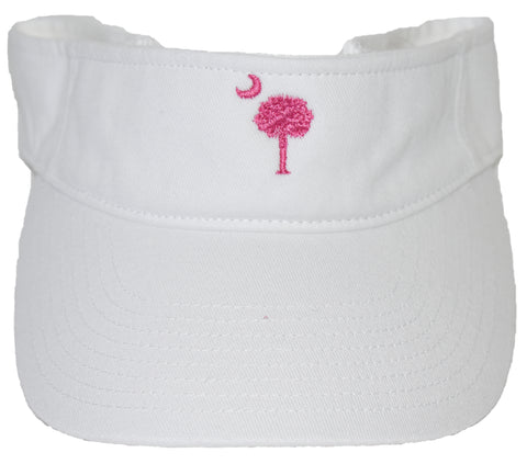 SC Palm Tree Embroidered Visor- White & Pink