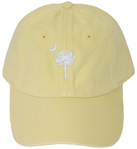SC Palm Tree Embroidered Hat- Yellow & White