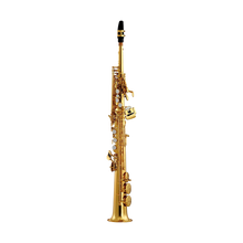 Load image into Gallery viewer, Eastman ESS642 Professional Soprano Saxophone Gold Lacquer / Black Nickel-Plated w Silver-Plated Keys