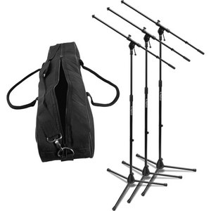 On-Stage MSP7703 Three Euroboom Microphone Stands with Bag