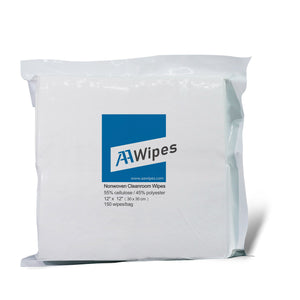 "Cleanroom Wipes, Non-Sterile, Cellulose/Polyester, 12"" x 12"" (15,000 Wipes/100 Bags/Case)"