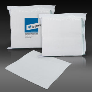 "Cleanroom Wipes, Non-Sterile, Cellulose/Polyester, 9"" x 9"" (30,000 Wipes/100 Bags/Case)"